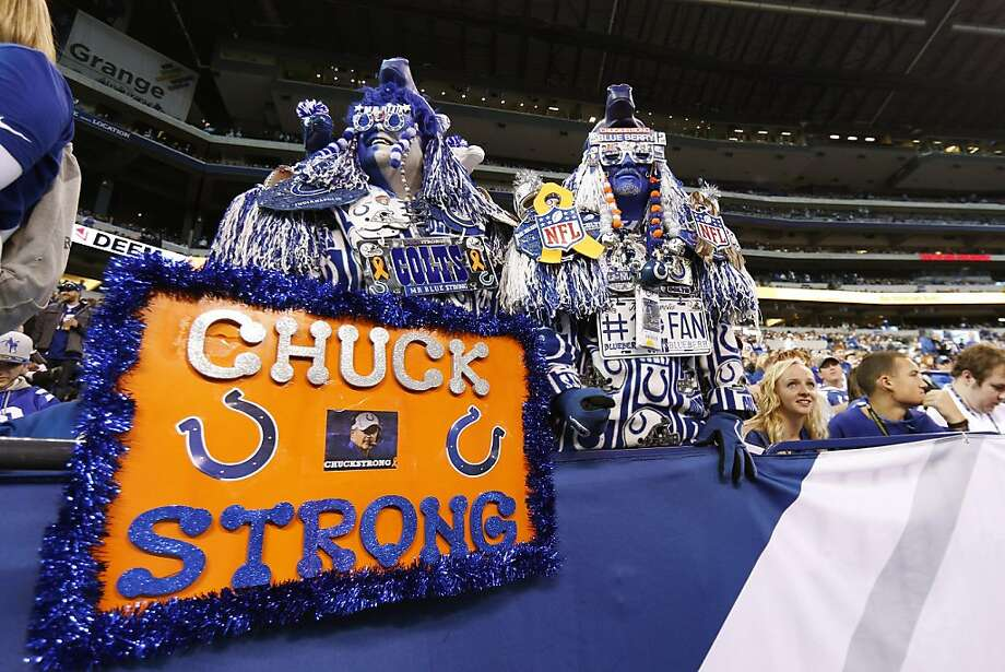 INDIANAPOLIS, IN - NOVEMBER 25: Indianapolis Colts fans show support for head coach Chuck Pagano before the game against the Buffalo Bills at Lucas Oil Stadium on November 25, 2012 in Indianapolis, Indiana. (Photo by Joe Robbins/Getty Images) Photo: Joe Robbins, Getty Images