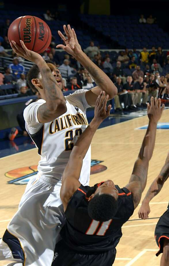 Allen Crabbe, who scored 24 points to lead Cal, shoots over Pacific's Lorenzo McCloud. Photo: Mark J. Terrill, Associated Press