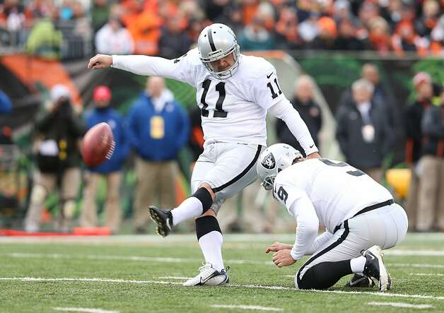 CINCINNATI, OH - NOVEMBER 25:  Sebastian Janikowski #11 of the Oakland Raiders kicks a field goal during the NFL game against the Cincinnati Bengals at Paul Brown Stadium on November 25, 2012 in Cincinnati, Ohio.  (Photo by Andy Lyons/Getty Images) Photo: Andy Lyons, Getty Images