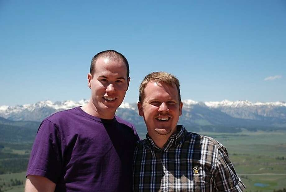 Christopher Nathan, left in purple and his spouse, Thomas Alexander, in plaid. Photo: Christopher Nathan
