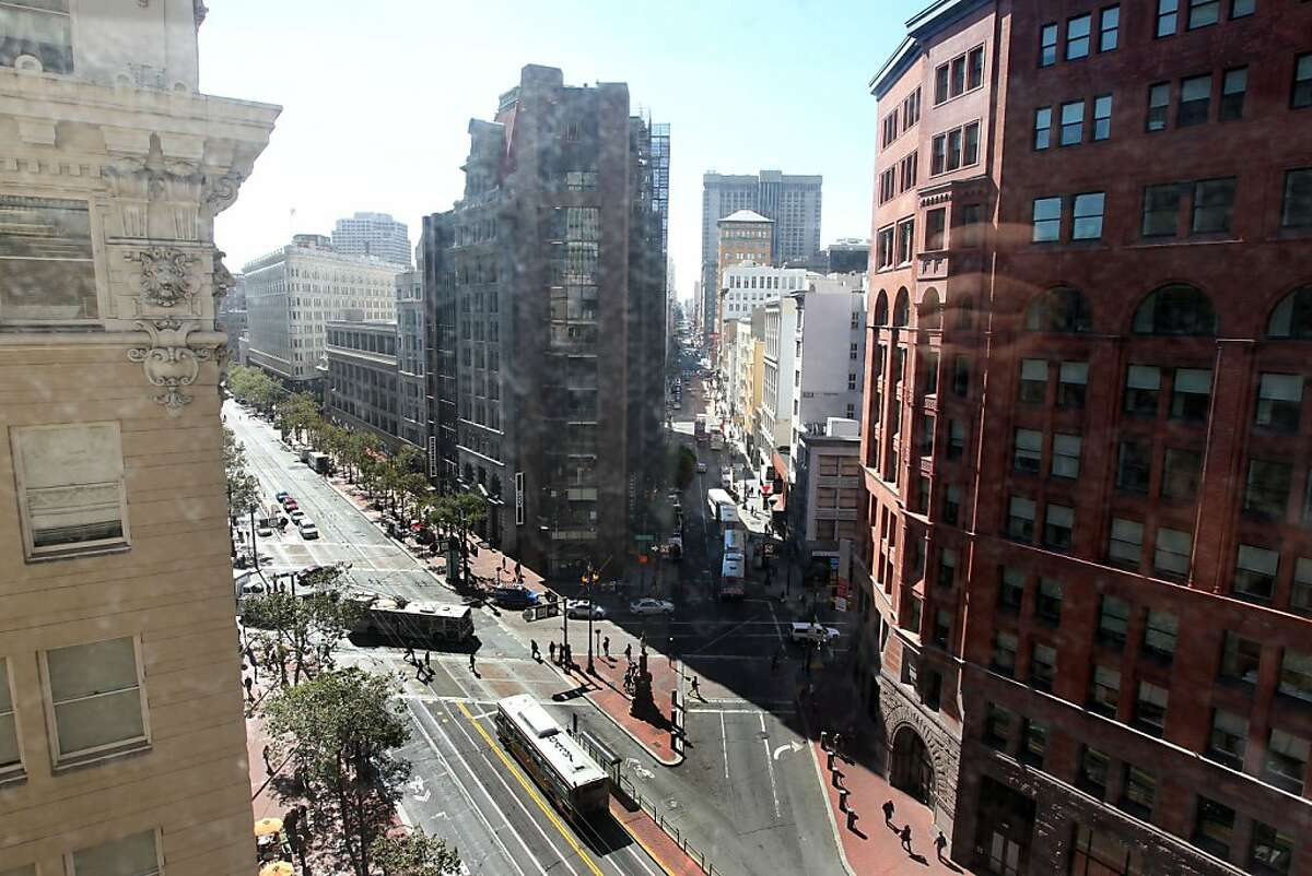 The view from the Presidential suite looks up Market Street. President Warren Harding passed away under what some called mysterious circumstances at the Palace Hotel August 2, 1923. Photo taken September 14, 2012 in presidential suite of the hotel in San Francisco California.