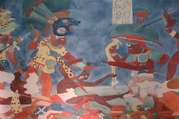 "Bonampak, Chiapas, Mexico. Detail of a mural painting found in Structure 1, Room 2. There are three rooms with murals. Dating to around 800 AD, and never completely finished, these murals refer to the ruler of Bonampak introducing the heir apparent to the local elite. Room 2 depicts a battle and its aftermath, with prisoners seated on a series of steps. In this image we see the battle in progress. The Bonampak murals have been described as the greatest battle scene in Maya art. Reconstruction painting, Room 2, Bonampak, Mexico, by Heather Hurst and Leonard Ashby. Image courtesy and   Bonampak Documentation Project The Houston Museum of Natural Science's ""Maya 2012: Prophecy becomes History"" exhibit runs until March 31, exploring the Mayan civilization and the apocalyptic Dec. 21, 2012 theory. Photo: Courtesy Of HMNS"