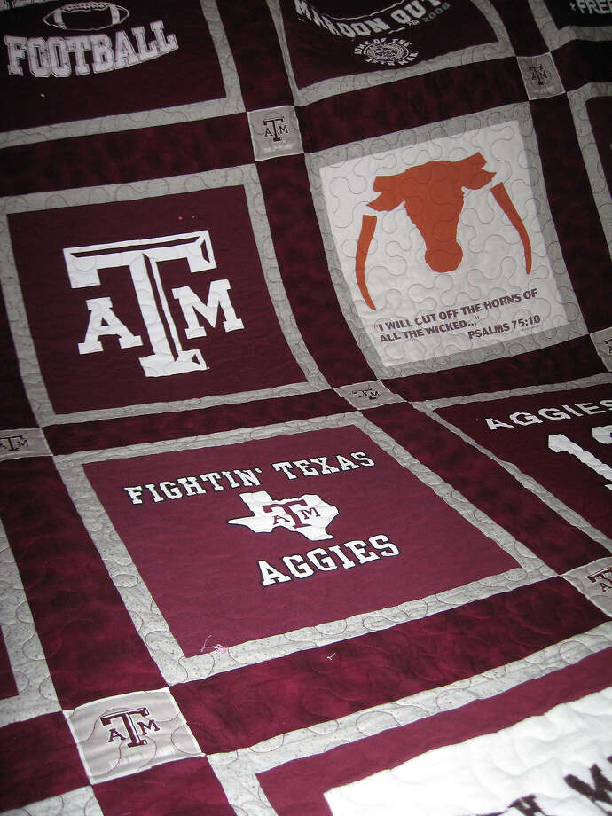 Some of the t-shirts used to make the award winning A&M quilt. Photo taken  Ioanna Makris /The Enterprise