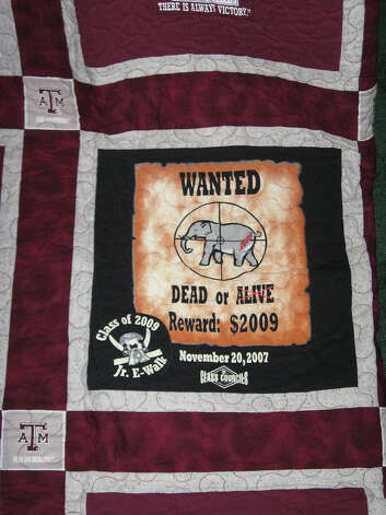 One of the many t-shirts used to make the award winning A&M quilt.  Photo taken  Ioanna Makris /The Enterprise