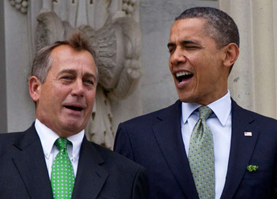 President Obama and Speaker Boehner, seen above in March, are sparring over the 'fiscal cliff.' Photo: Carolyn Kaster / AP2012