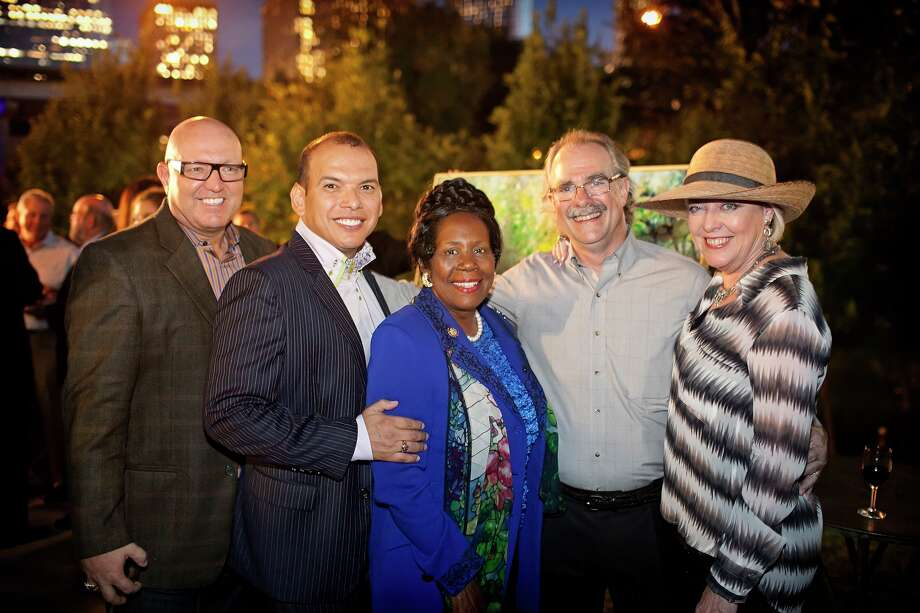 "Dick Rabinow, from left,  Alex Martinez, Congresswoman Sheila Jackson Lee, and Andy and Terry DiRaddo at the Buffalo Bayou Partnership's 2012 ""SENSE-Sational"" gala in November 2012.  Photo: Katya Horner"