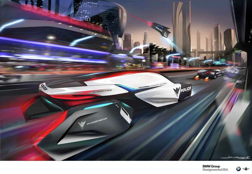 BMW DesignworksUSA studio designed the E-Patrol (Human-Drone Pursuit Vehicle) for the CHiP Design Ch