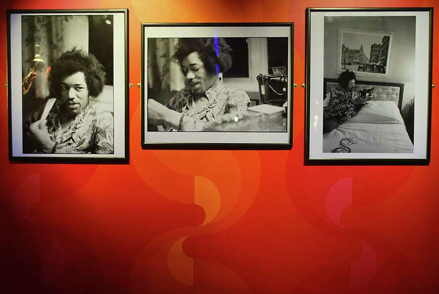 Rare Jimi Hendrix photographs is on display at the Marquee club in London Sept. 16, 2004.   AFP PHO