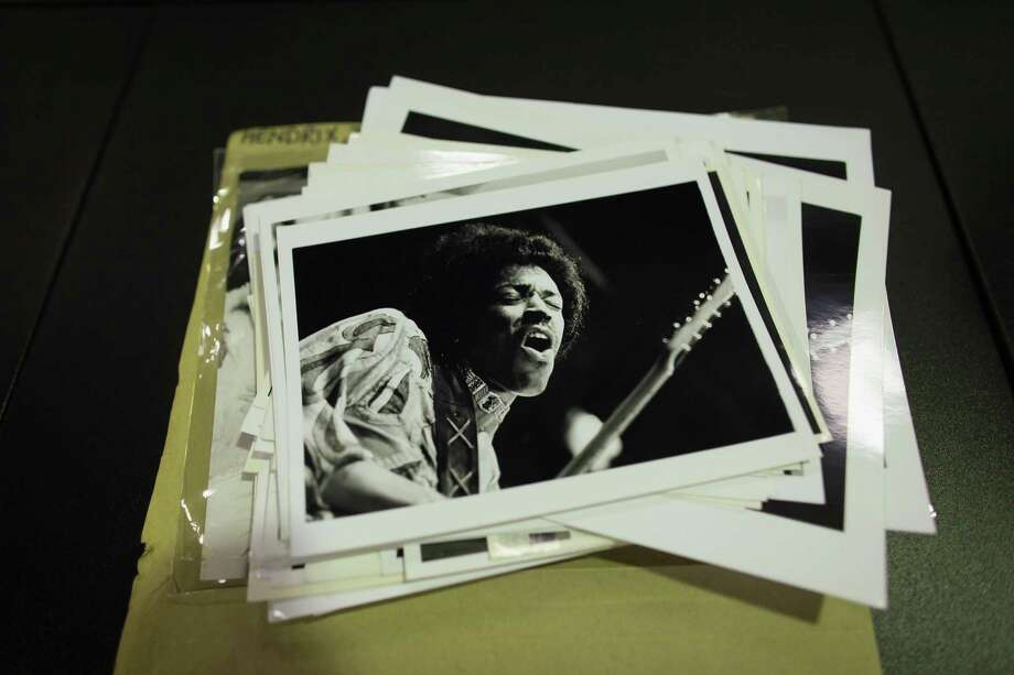 Black and white prints of Jimi Hendrix are laid out from the vast collection of historic photographs stored in the Hulton Archive on May 13, 2011, in London.  Photo: Oli Scarff, Getty / 2011 Getty Images