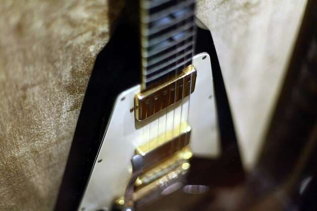 :  Jimi Hendrix's Custom Gibson Flying V guitar played by Jimi at the Isle of Wight festival and in the film Rainbow Bridge is shown on display at Hard Rock Cafe's 40th anniversary Memorabilia Tour at Hard Rock Cafe, Times Square on May 18, 2011, in New York City. Photo: Neilson Barnard, Getty / 2011 Getty Images