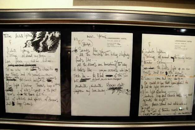 "Jimi Hendrix's handwritten lyrics to ""Midnight Lightning"" are shown on display at Hard Rock Cafe's 40th anniversary Memorabilia Tour at Hard Rock Cafe, Times Square on May 18, 2011, in New York City. Photo: Neilson Barnard, Getty / 2011 Getty Images"