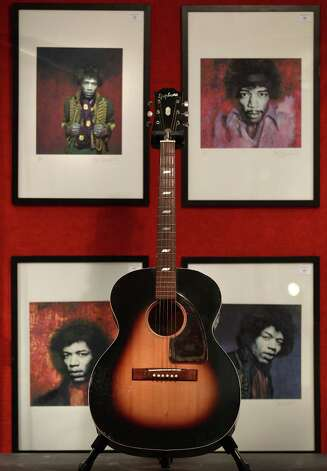Jimi Hendrix's Epiphone FT79 guitar is displayed at Bonhams auctioneers on Dec. 10, 2010 in London.   Photo: Peter Macdiarmid, Getty / 2010 Getty Images