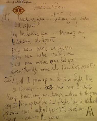 "Jimi Hendrix's handwritten lyrics for his song ""Machine Gun"" is on display at the Grammy Museum in Los Angeles on Dec. 2, 2008. , Photo: ROBYN BECK, Getty / 2010 AFP"