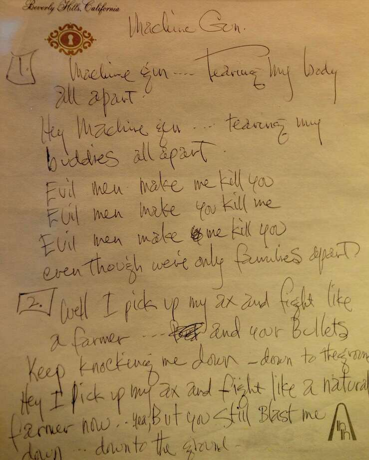 """Jimi Hendrix's handwritten lyrics for his song """"Machine Gun"""" is on display at the Grammy Museum in Los Angeles on Dec. 2, 2008. , Photo: ROBYN BECK, Getty / 2010 AFP"""