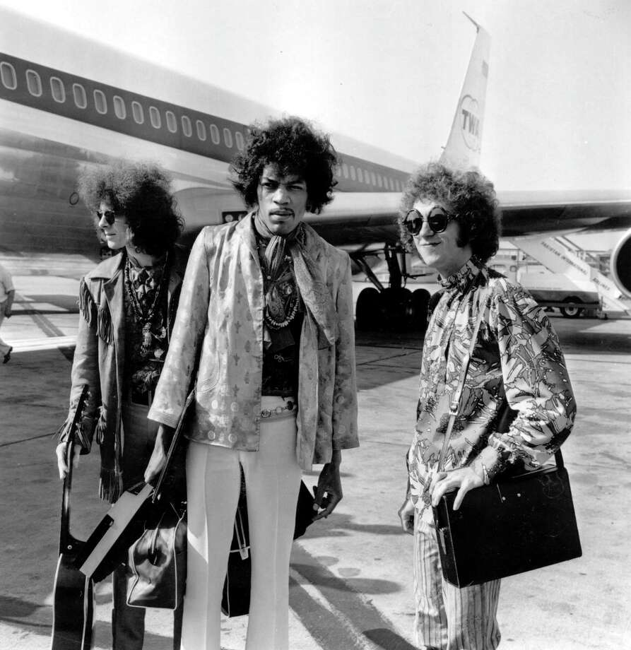The Jimi Hendrix Experience at London Airport, from left to right; bass player Noel Redding legendary guitarist Jimi Hendrix and drummer Mitch Mitchell on Aug. 21, 1967. Photo: George Stroud, Getty / Hulton Archive
