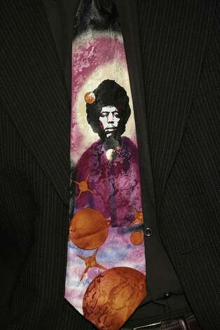 A detail of the tie worn by actor Wesley Jonathan during arrivals for the Film Life's 2006 Black Movie Awards at the Shrine Wiltern Theater on Oct. 15, 2006, in Los Angeles Photo: Frederick M. Brown, Getty / 2006 Getty Images