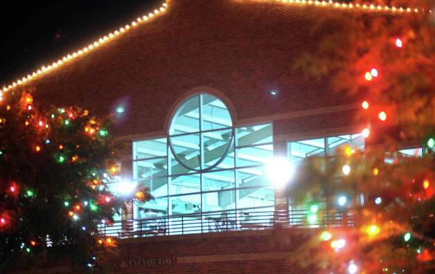 "The Ann Barshop Natatorium  is framed by the ""Light the Way"" Christmas lights on the campus of the University of the Incarnate Word, which were lit on November 17 and will shine through January 6, 2013. Photo: Billy Calzada, San Antonio Express-News / SAN ANTONIO EXPRESS-NEWS"