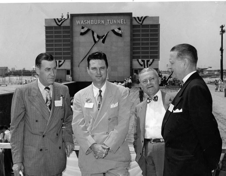 Roy Hofheinz, second from left, at the opening of the Washburn Tunnel, May 1950. Photo: Houston Chronicle / Houston Chronicle