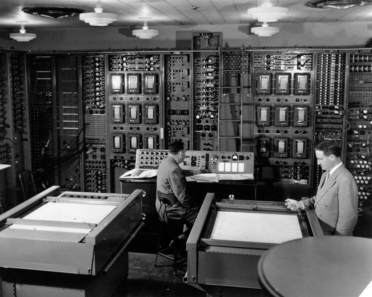 RCA Laboratories technicians operate the Typhoon computer circa 1950.