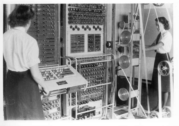 The Colossus computer is shown in its original life. It was the world's first modern computer, assembled in 1943 and up and running in January 1944. It was built to help decipher the encrypted messages between German Chancellor Adolph Hitler and his generals during World War II. Photo: The National Museum Of Computing