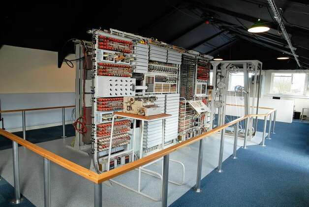 The Colossus computer is shown restored in the U.K. National Museum of Computing. It was the world's first modern computer, assembled in 1943 and up and running in January 1944. It was built to help decipher the encrypted messages between German Chancellor Adolph Hitler and his generals during World War II. Photo: The National Museum Of Computing