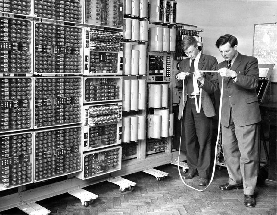 The Harwell Dekatron computer, which first ran in 1951, is shown during its original life.  It first ran at Harwell Atomic Energy Research Establishment, slowly,  but relentlessly and flawlessly carrying out tedious calculations. The  computer subsequently went to Wolverhampton and Staffordshire Technical  College, which renamed it the WITCH (Wolverhampton Instrument for  Teaching Computation from Harwell) and used it in computer education  until 1973. After a period on display in the former Birmingham Museum of  Science and Industry, it was dismantled and put into storage.  Volunteers from The National Museum of Computing rediscovered it in  2008. Photo: The National Museum Of Computing