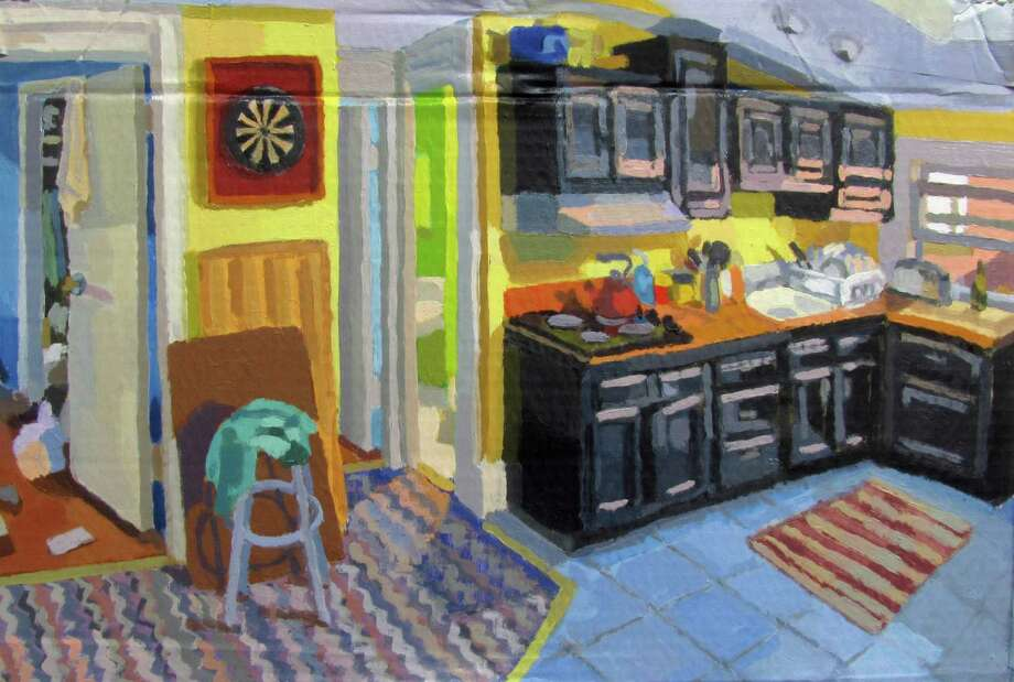 "Perry Obee's ""Pinkhouse Kitchen,"" an oil on cardboard, is one of the pieces on display at the New Canaan Library in the new exhibition ""Spaces."" Photo: Contributed"