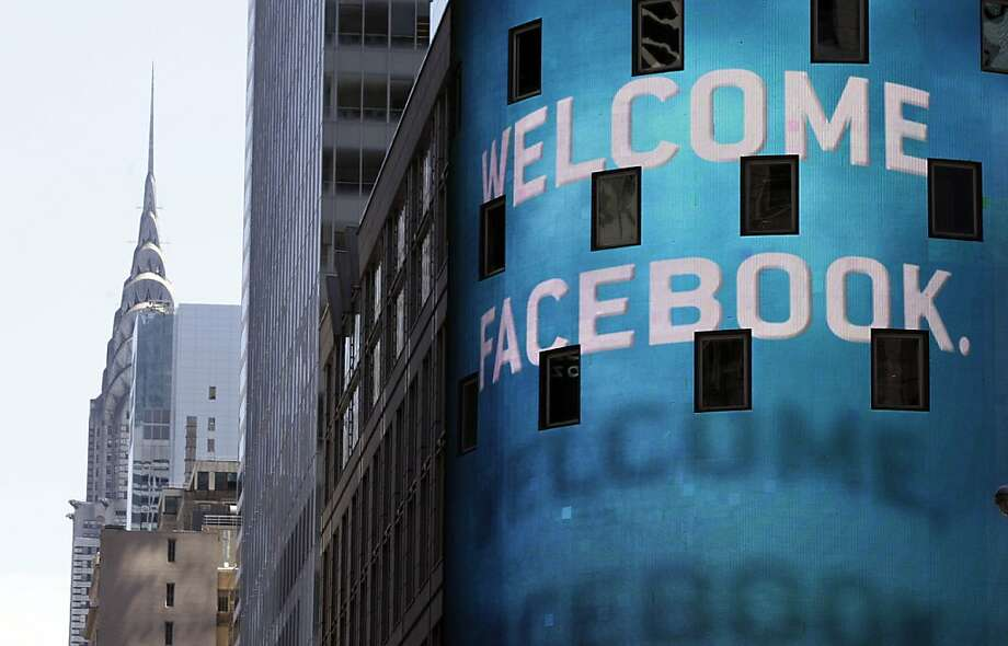The facade of the Nasdaq MarketSite in Times Square welcomed the Facebook IPO on May 18. Photo: Richard Drew, Associated Press