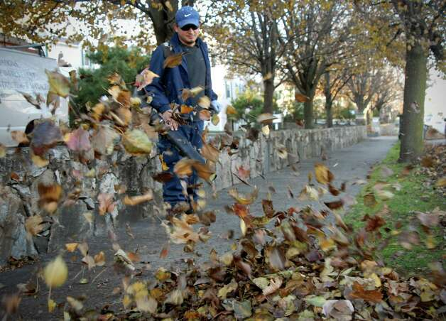 Raphael Abla blows the leaves to the curb on Seaside Ave in Stamford, Conn. on Monday November 26, 2012. Photo: Dru Nadler / Stamford Advocate Freelance