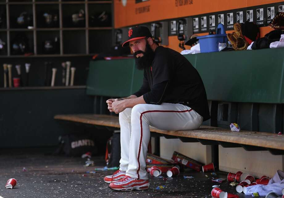 Brian Wilson #38 of the San Francisco Giants sits in the dugout during their game against the Arizona Diamondbacks at AT&T Park on September 4, 2011 in San Francisco, California. Photo: Ezra Shaw, Getty Images / ONLINE_YES