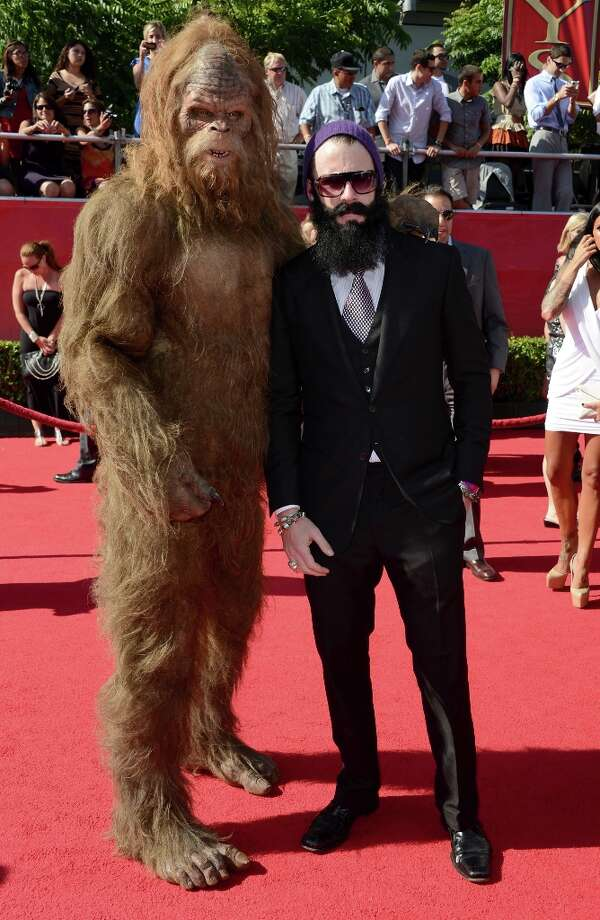 San Francisco Giants pitcher Brian Wilson and Sasquatch arrive at the 2012 ESPY Awards at Nokia Theatre L.A. Live on July 11, 2012 in Los Angeles, California. Photo: Frazer Harrison, Getty Images / 2012 Getty Images