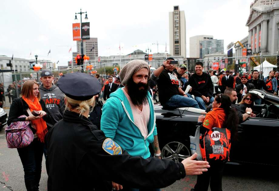 Giants pitcher Brian Wilson walks during the World Series victory parade on Wednesday, October 31, 2012 in San Francisco, Calif. Photo: Beck Diefenbach, Special To The Chronicle / ONLINE_YES