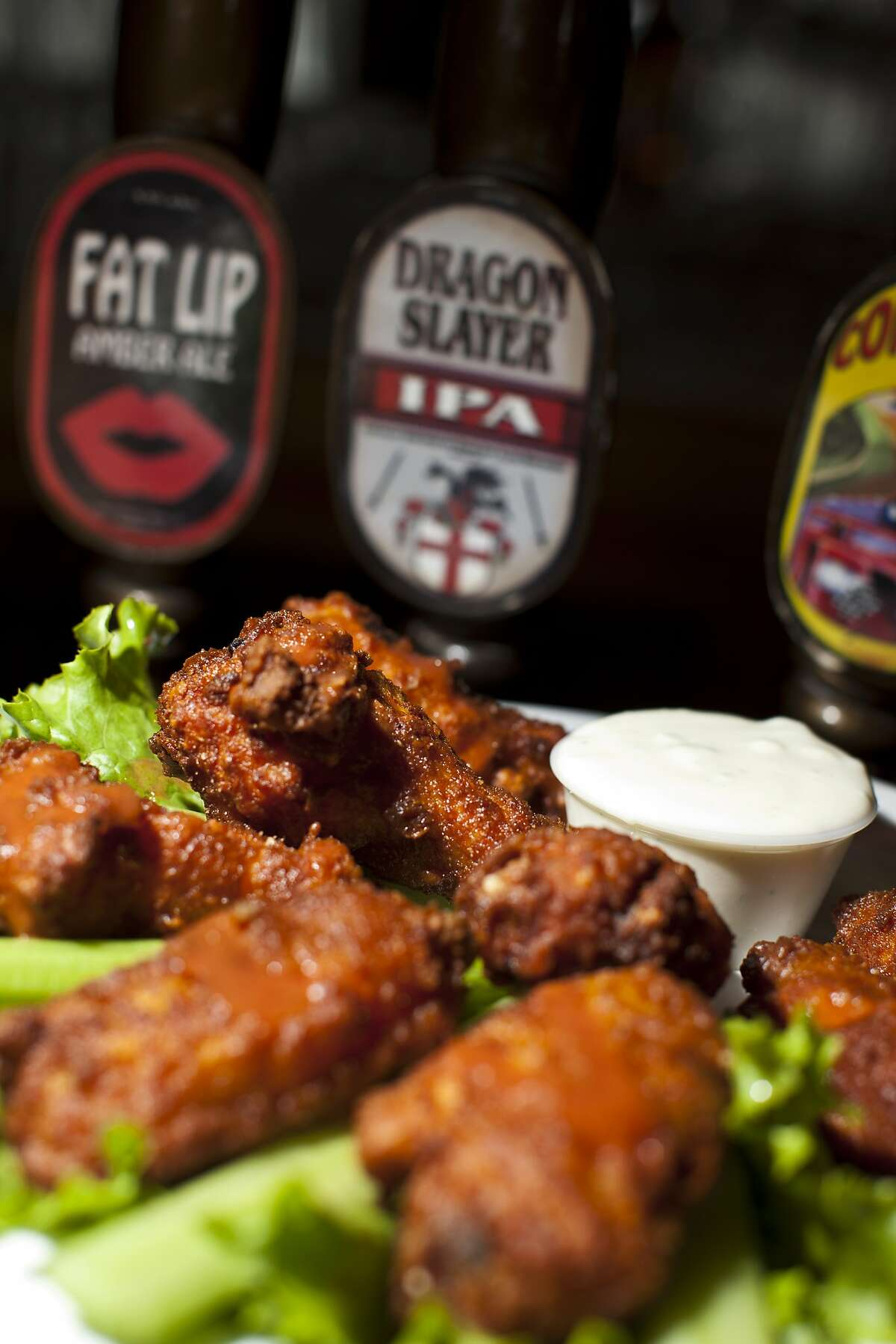 An appetizer of chicken wings at English Ales Brewery and Cafe in Marina, Calif., Tuesday, November 20, 2012.