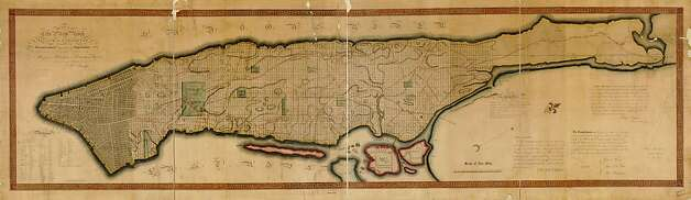 An 1811 plan for Manhattan, which covered the island in a grid that ignored hills and the need for public parks, is among the images in the SPUR exhibit. Photo: Courtesy SPUR, SPUR