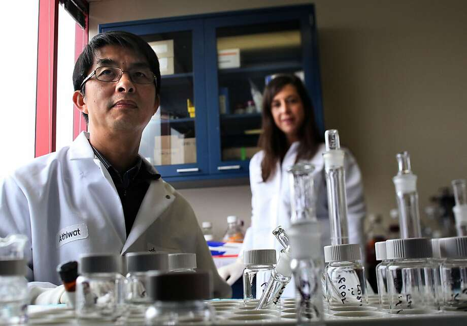 Athiwat Hutchaleelaha (left) and Mardi Dier of Portola Pharmaceuticals, which is developing an antidote to bleeding. Photo: Liz Hafalia, The Chronicle