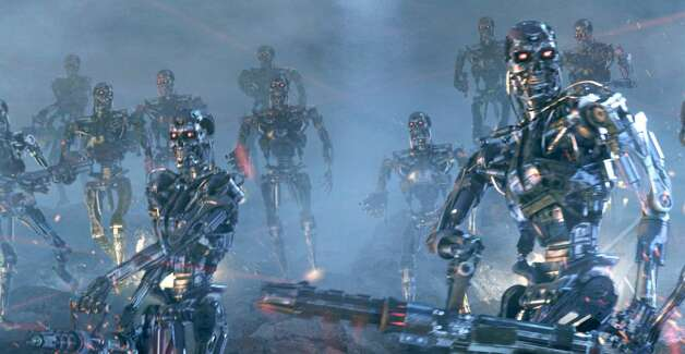 """Here are the bad robots taking over in a scene from """"Terminator 3: Rise of the Machines."""" Photo: Warner Bros. Pictures / SL"""