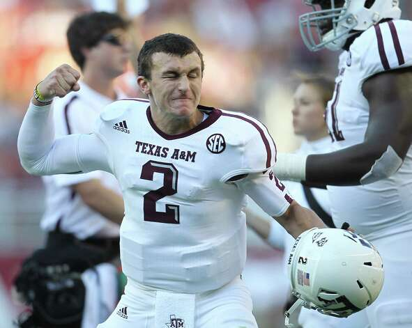 Texas A&M quarterback Johnny Manziel (2) as the touchdown was called after review during the first quarter of a college football game at Bryant-Denny Stadium, Saturday, Nov. 10, 2012, in Tuscaloosa.  ( Karen Warren / Houston Chronicle ) Photo: Karen Warren, Staff / © 2012  Houston Chronicle