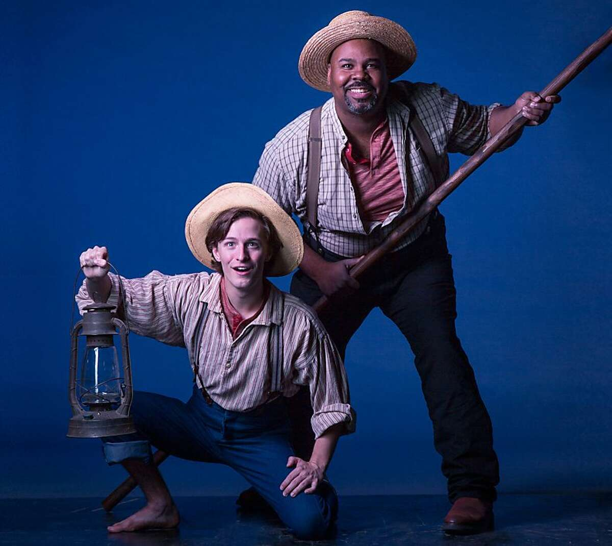 """James Monroe Iglehart 2.jpg Alex Goley (left) and James Monroe Iglehart star in """"Big River,"""" a musical version of """"Huckleberry Finn,"""" a TheatreWorks production running through Dec. 30 at the Lucie Stern Theatre in Palo Alto. Photo credit: Tracy Martin"""