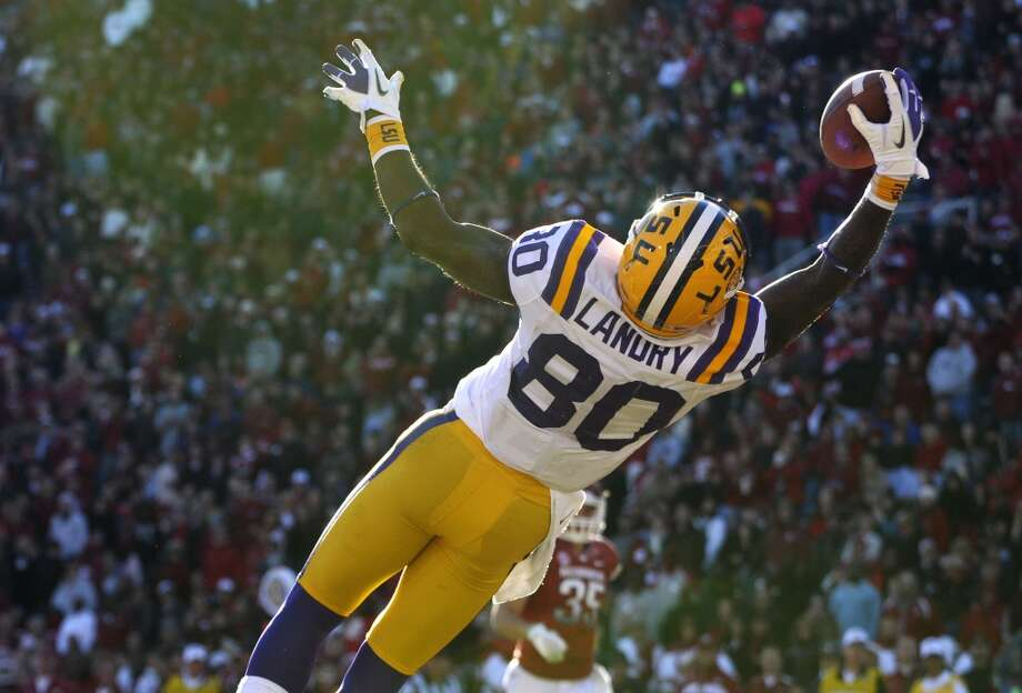 Cotton: Oklahoma (Big 12 No. 2) vs. LSU (SEC)  --  LSU wide receiver Jarvis Landry (80) makes a catch against Arkansas.  (David Quinn / Associated Press)