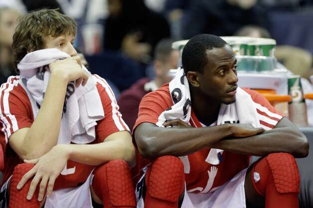 WASHINGTON, DC - NOVEMBER 26: Jan Vesely #24 (L) and teammate Earl Barron #30 (R) of the Washington Wizards sit on the bench during the closing moments of the Wizards 118-92 loss to the San Antonio Spurs at Verizon Center on November 26, 2012 in Washington, DC. NOTE TO USER: User expressly acknowledges and agrees that, by downloading and/or using this photograph, user is consenting to the terms and conditions of the Getty Images License Agreement.  (Photo by Rob Carr/Getty Images) (Getty Images)