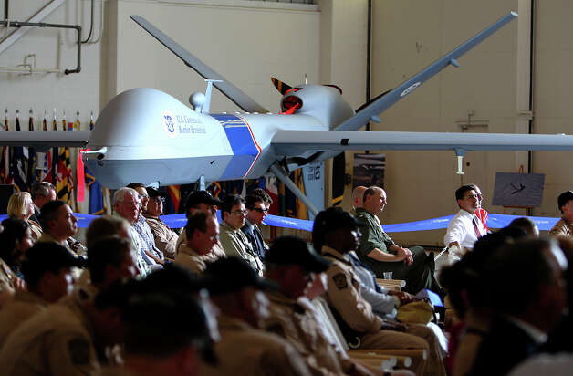 An MQ-9 Predator B unmanned aircraft is seen at a ceremony held by U.S. Customs and Border Protection to officially announce the commencement of unmanned flight operation along the Texas-Mexico border on Wednesday, Sept. 8, 2010, at the Naval Air Station in Corpus Christi. Photo: Kin Man Hui, San Antonio Express-News / kmhui@express-news.net