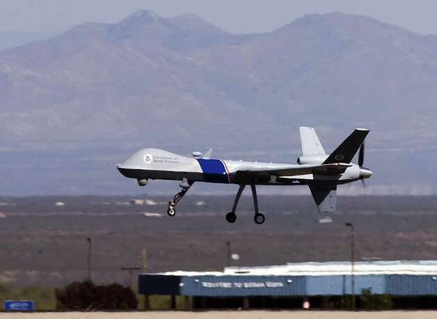 A MQ-9 Predator B, an unmanned surveillance aircraft system, takes off at Libby Army Airfield at Ft. Huachuca Oct. 30, 2006, in Sierra Vista, Ariz. Photo: Gary Williams, Getty Images / 2006 Getty Images