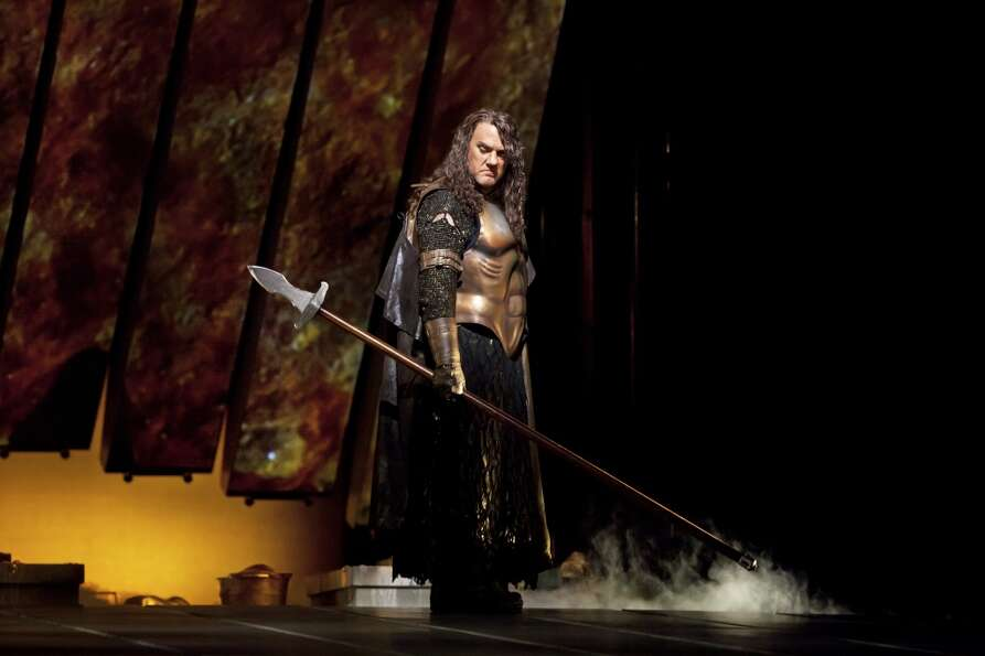 Bryn Terfel as Wotan in Das Rheingold at the Metropolitan Opera in New York, April 3, 2012. The dire