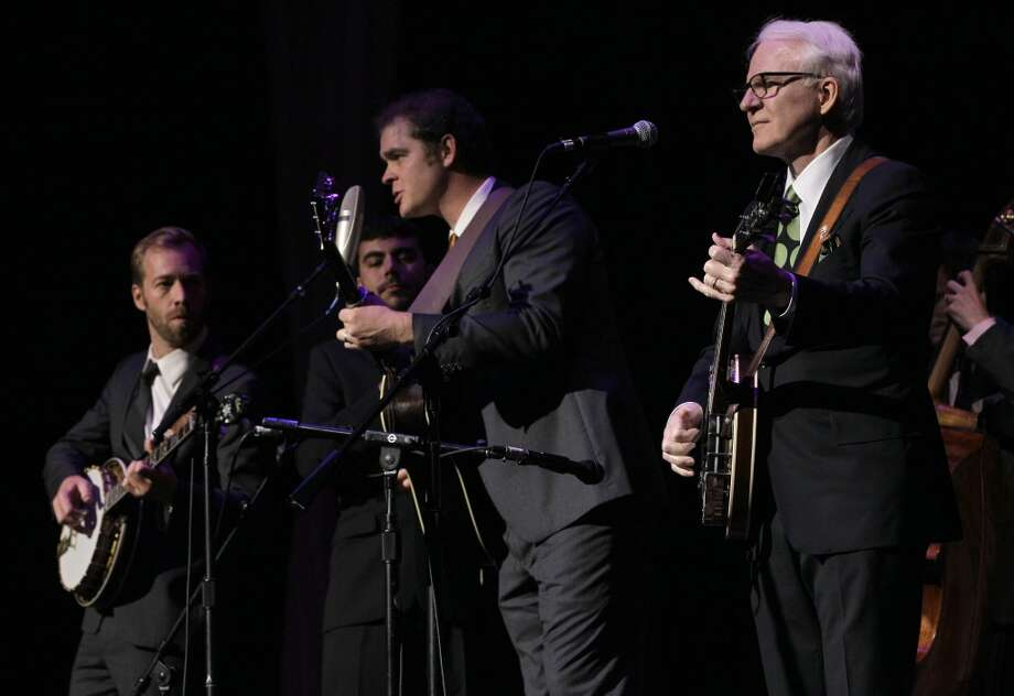 Steve Martin, right, and the Steep Canyon Rangers perfrom at the International Bluegrass Music Association Awards show on Thursday, Sept. 29, 2011, in Nashville, Tenn. (AP Photo/Mark Humphrey) (AP)
