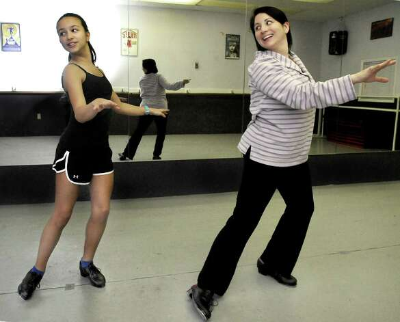 Mckenna Beirne, 13, takes dance instruction from teacher Nicole Aravena at Seven Stars School for the Performing Arts in Brewster, N.Y., Monday, Nov.26, 2012. Photo: Michael Duffy / The News-Times