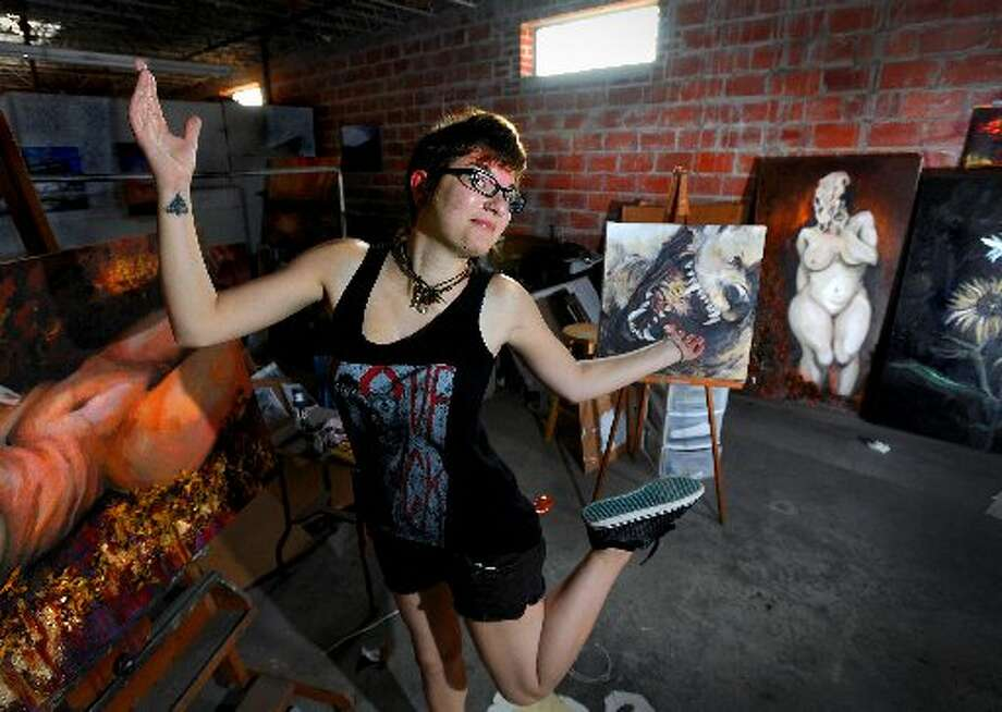 Kailee Viator in her space at the Art Studio, just before the annual Tenents Show. Guiseppe Barranco/cat5