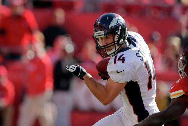 Denver Broncos wide receiver Brandon Stokley runs during the first half an NFL football game against the Kansas City Chiefs Sunday, Nov. 25, 2012, in Kansas City, Mo. (AP Photo/Charlie Riedel) Photo: Charlie Riedel, ASSOCIATED PRESS / AP2012