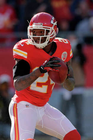Kansas City Chiefs cornerback Brandon Flowers passes the ball during the first half an NFL football game against the Denver Broncos Sunday, Nov. 25, 2012, in Kansas City, Mo. (AP Photo/Charlie Riedel) Photo: Charlie Riedel, ASSOCIATED PRESS / AP2012