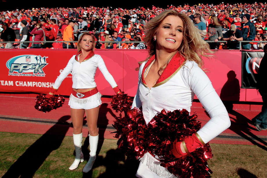 Kansas City Chiefs cheerleaders perform during the second half of an NFL football game Sunday, Nov. 25, 2012, in Kansas City, Mo. The Broncos won the game 17-9. (AP Photo/Charlie Riedel) Photo: Charlie Riedel, ASSOCIATED PRESS / AP2012