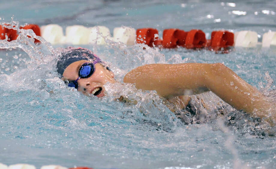 Verity Abel of Staples High School in the 500 free-style event during the FCIAC girls swimming championships at Greenwich High School, Saturday afternoon, Nov. 5, 2011. Photo: Bob Luckey / Greenwich Time